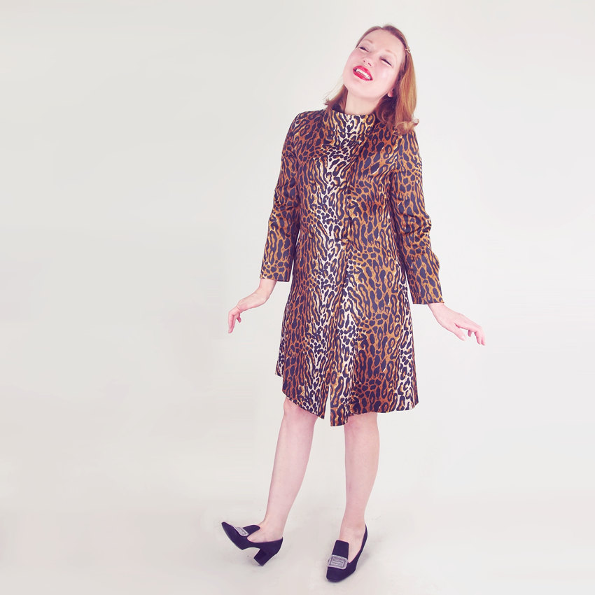 60s Mod Leopard Print Raincoat by Travel Coats by Naman