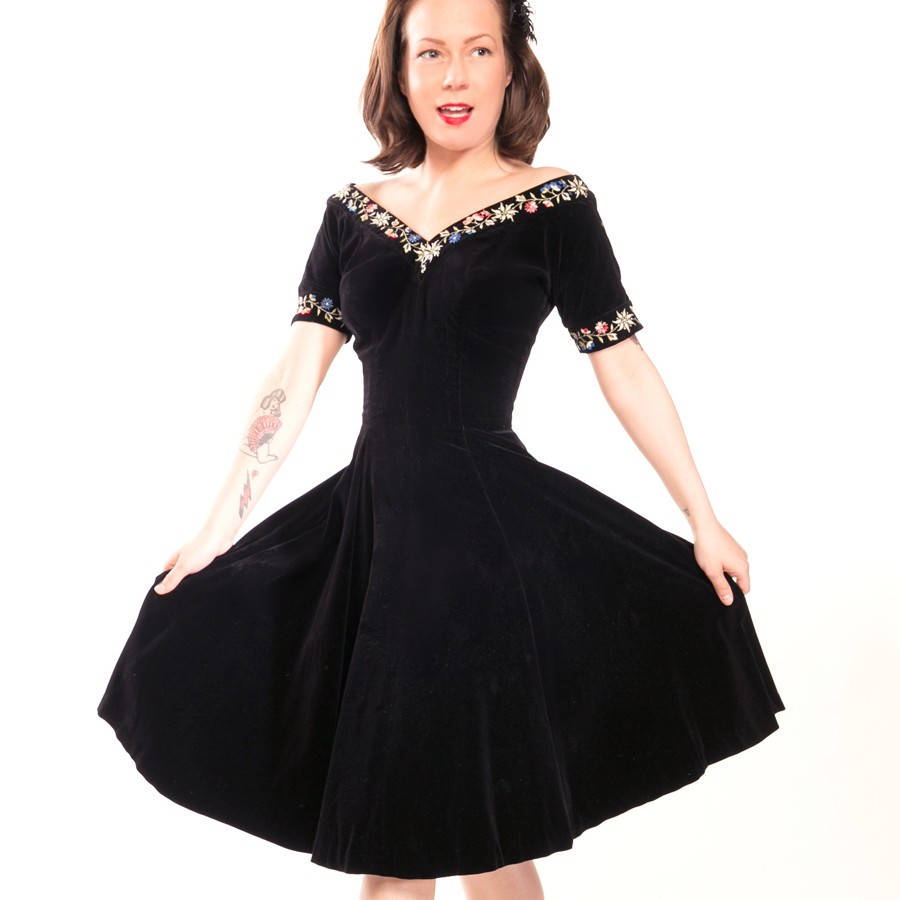 50s Black Cotton Velvet Party Dress with Embroidered Flowers