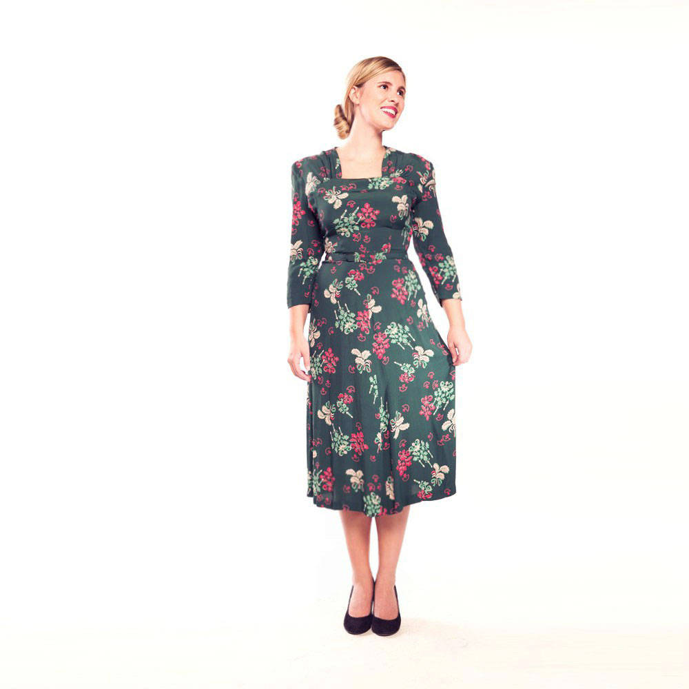 40s Novelty Candelabra Print Green & Magenta Rayon Dress