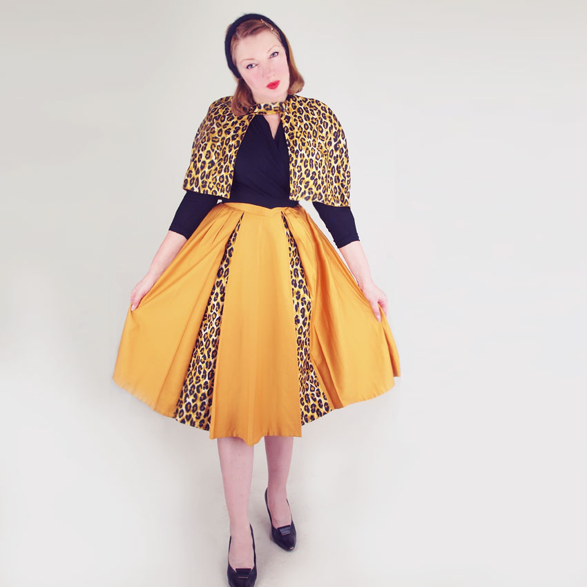 50s Leopard and Gold Cotton Sateen Cape and Skirt Suit