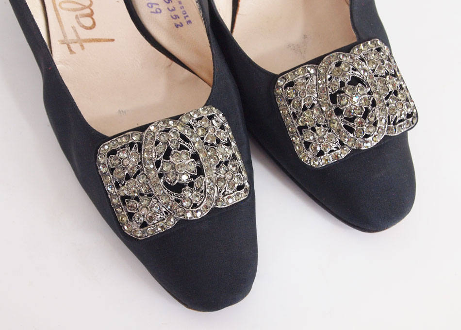 60s Black Silk Slingback Pumps Shoes with Antique-look Rhinestone Buckles
