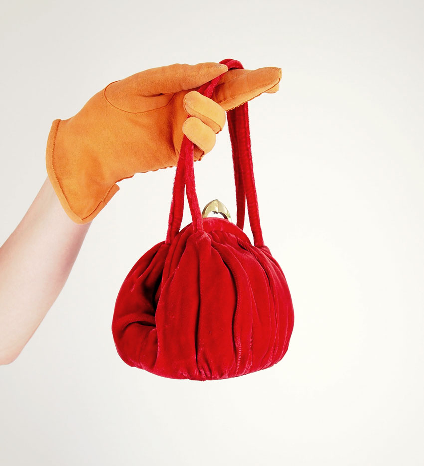 30s Burnt Orange Velvet Handbag