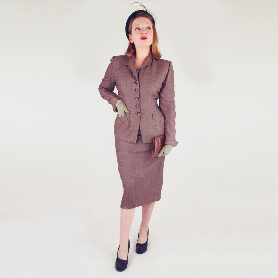 40s Brown Check Fine Wool Skirt Suit by Kolmer