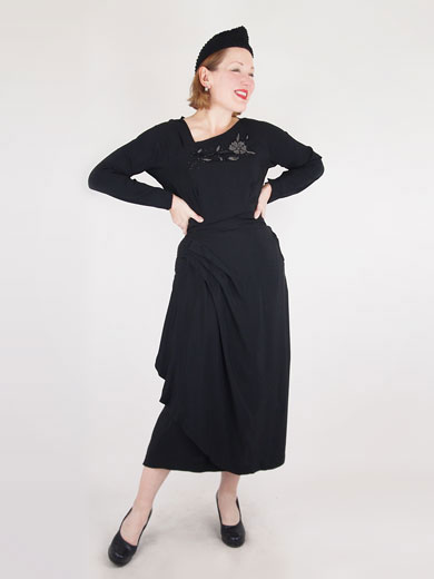 Late 40s Black Rayon Beaded Draped Dress by David Roth of Miami