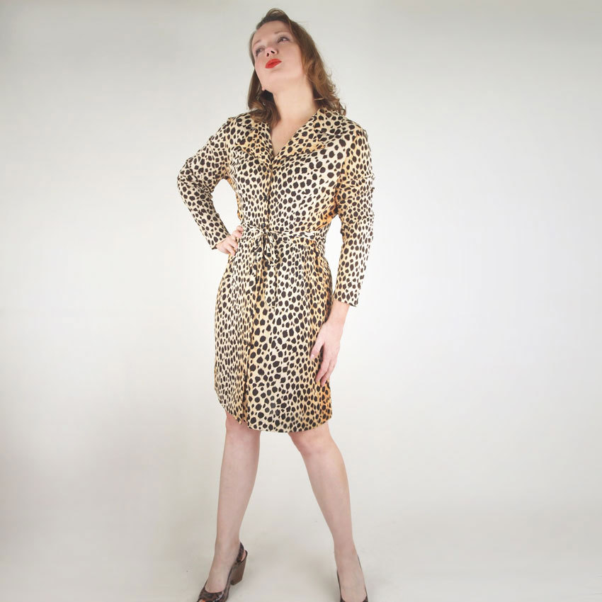 60s Cheetah Print Nylon House Dress with Tie Belt