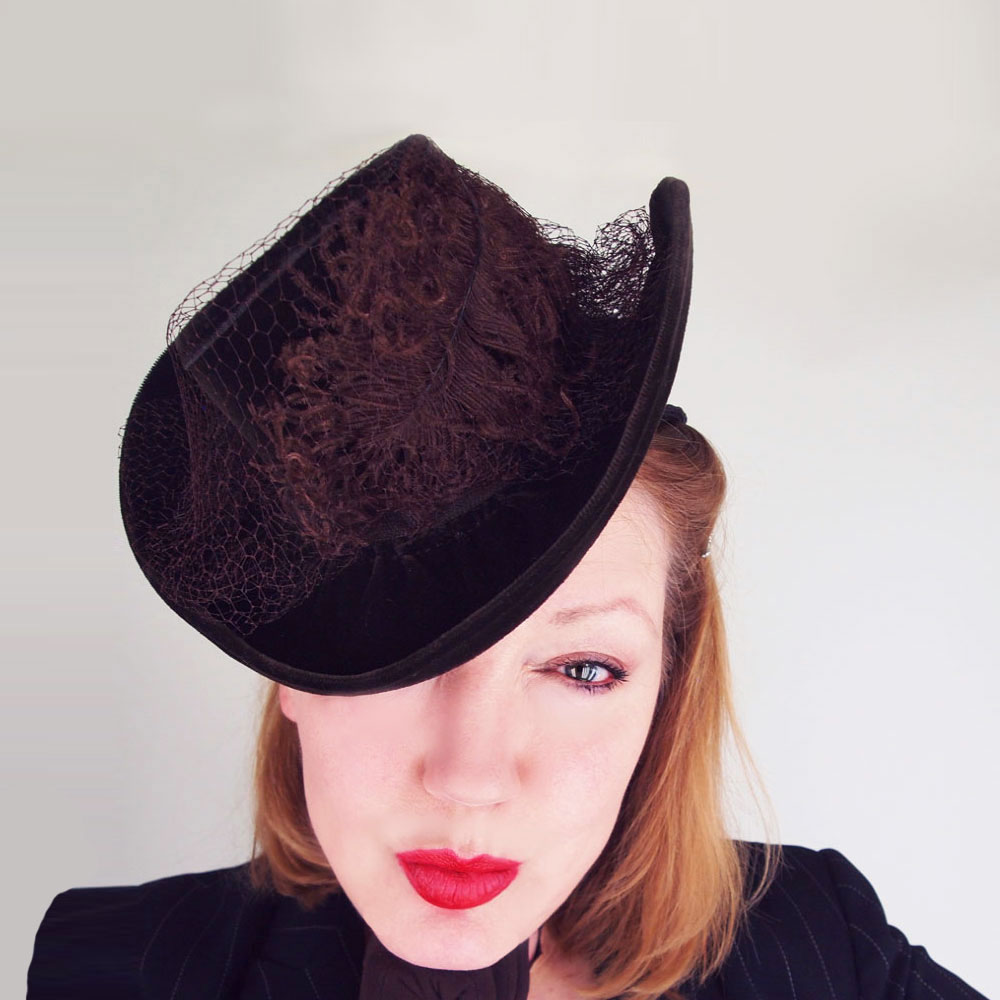 Early 40s New York Creation Brown Velvet Tilt Hat with Feather