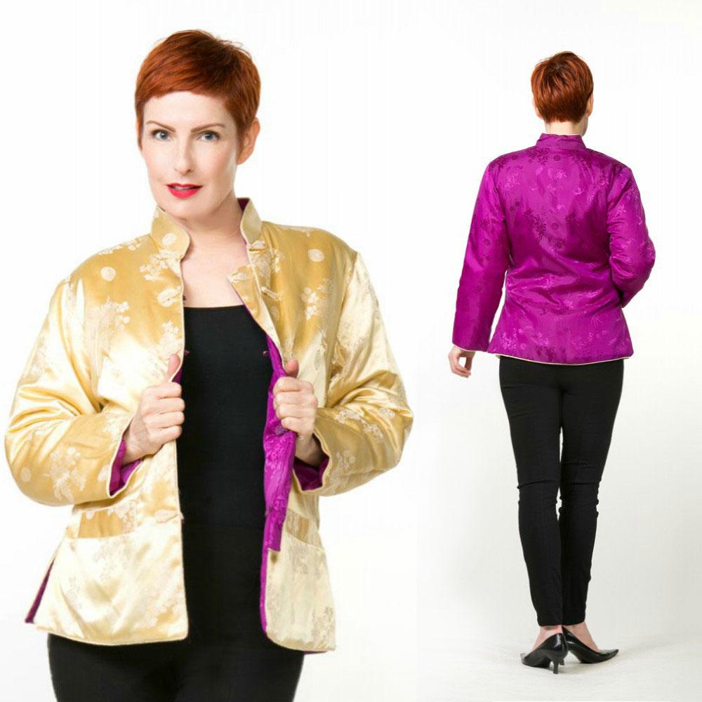 Vintage Gold and Purple Brocade Asian Mandarin Padded Jacket M