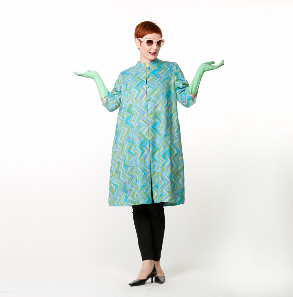 60s Modern Blue Green Lavender Print Linen Lightweight   A Line   Coat - I. Magnin
