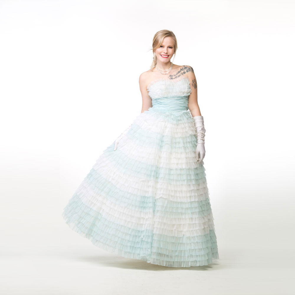 50s Light Blue and White Frothy Long Strapless Cupcake Dress - Party Prom XXS
