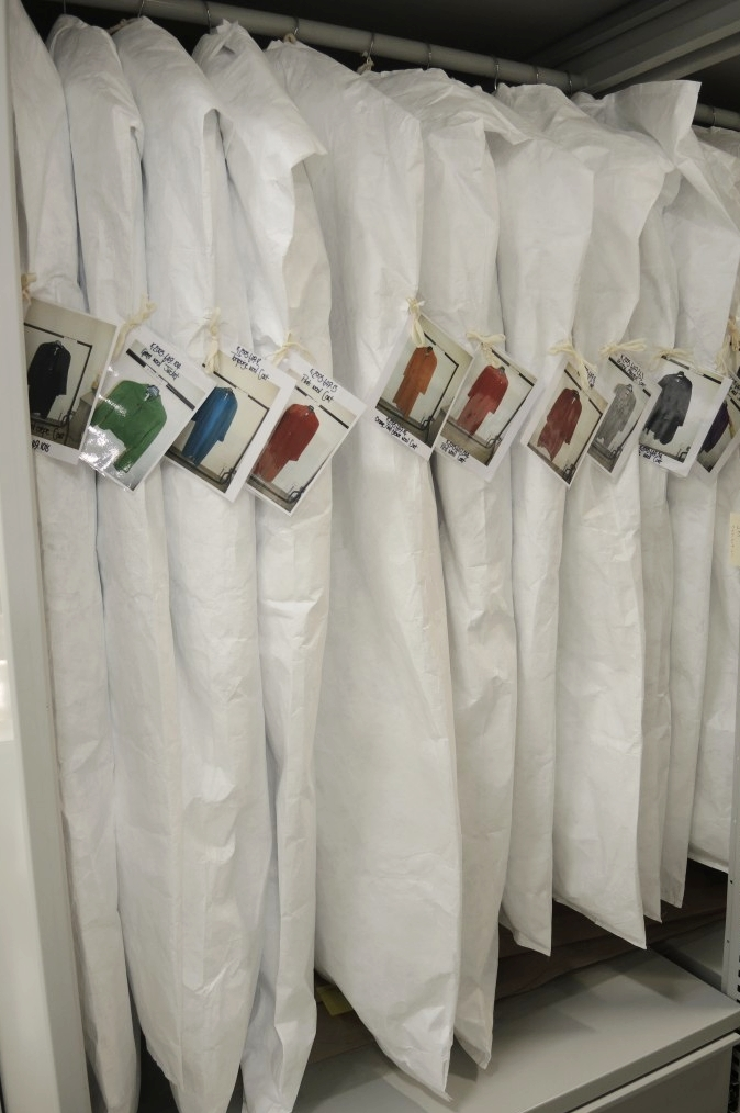 Jean Muir garments stored on padded hangers, with Tyvek storage covers. Photo courtesy of National Museums Scotland