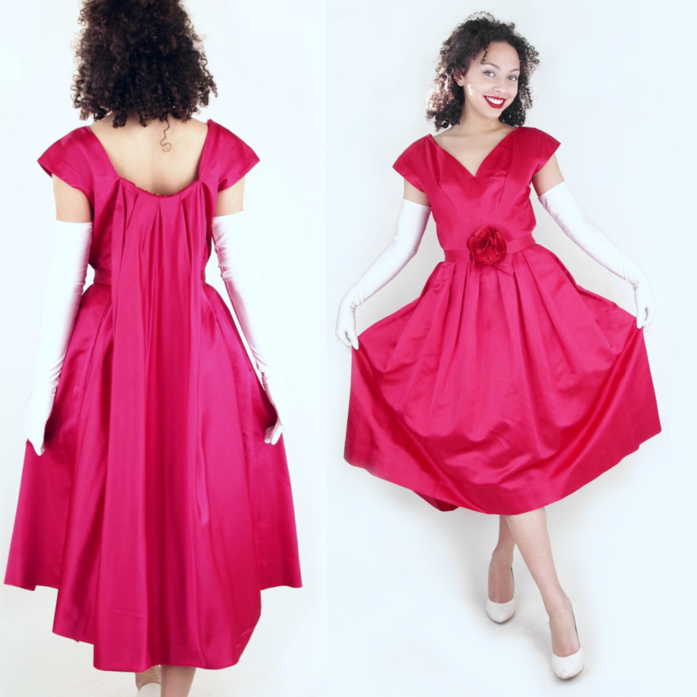 50s Magenta Pink Silk Satin Full Skirt Dress with Watteau Back by Carlye S