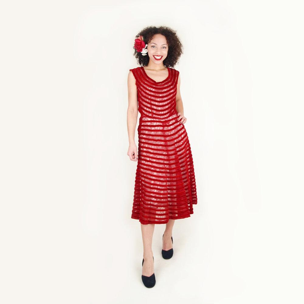 40s 50s Brick Red Velvet Striped Lace Dress M L