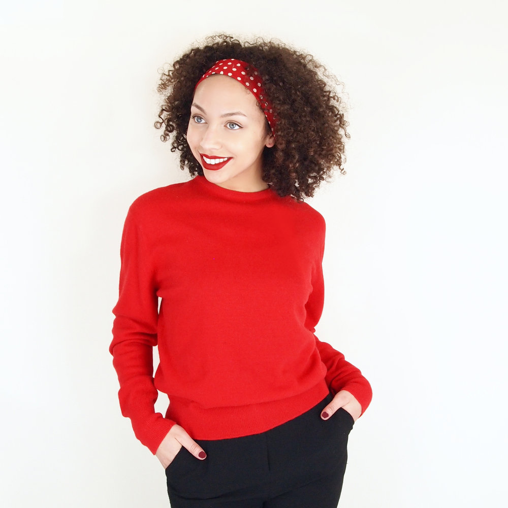 50s 60s Red Lambswool Blend Sweater by Garland Dreamspun M L