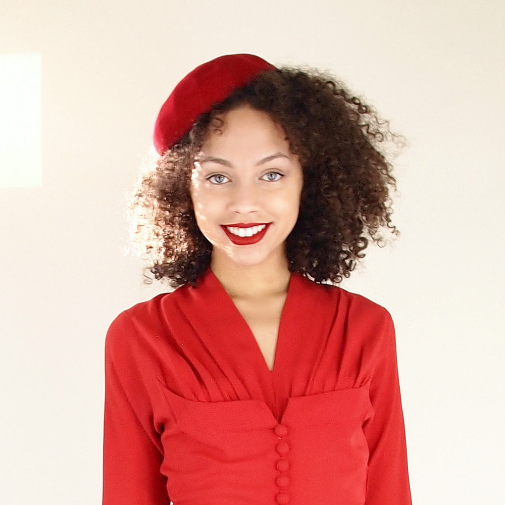 40s 50s Red Wool Felt Beret Style Hat by Berkshire