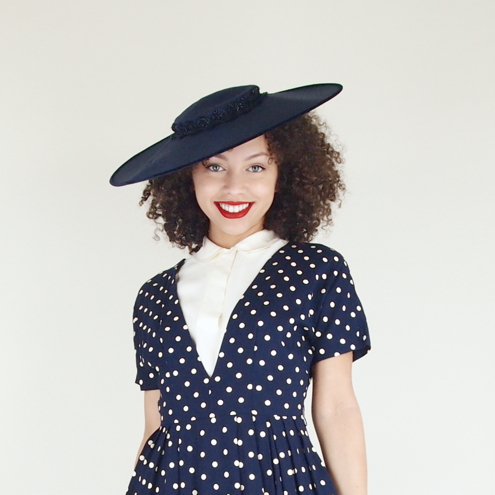 50s Navy Blue Cartwheel Wide Brim Hat by Frances
