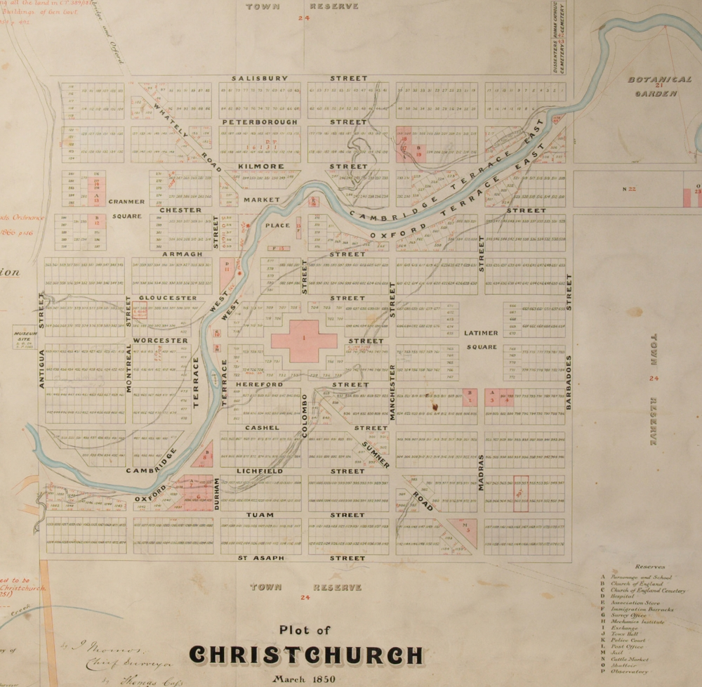 "1850 ""Black Map of Christchurch"",  Archives New Zealand,  CAYN 23142 CH1031/179 273 3"