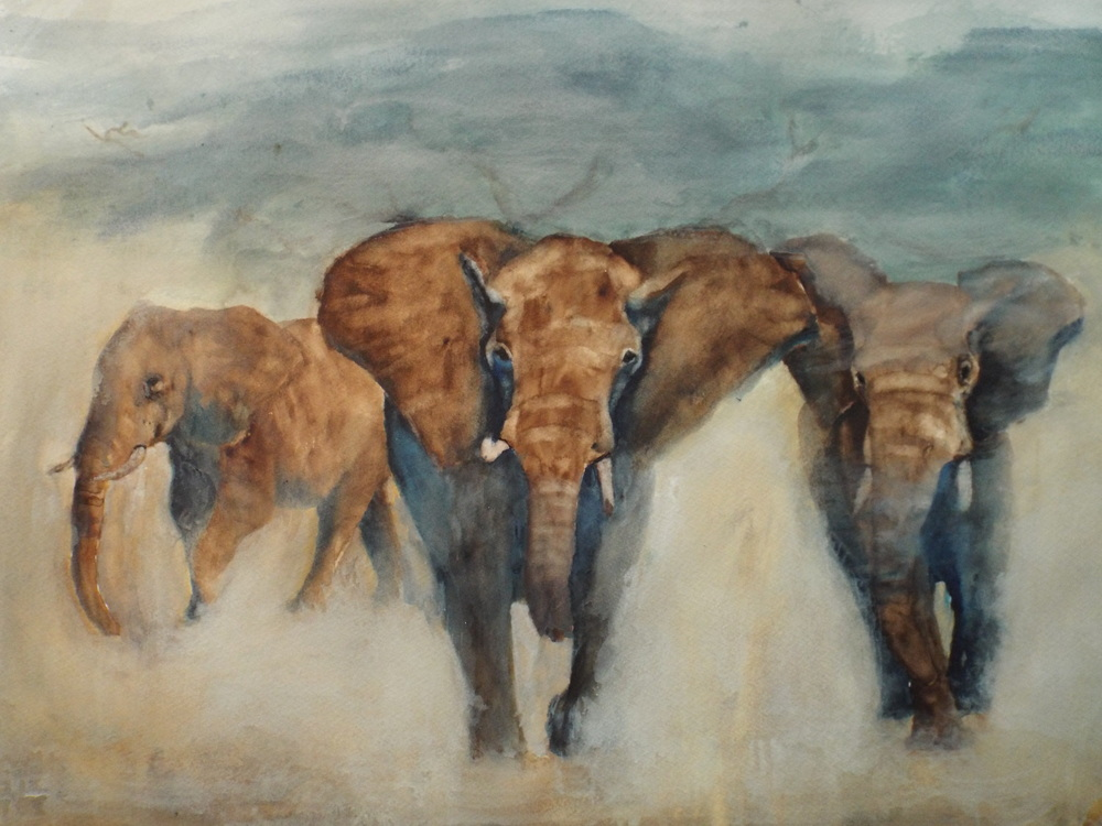 Elephants in Mist  Sold