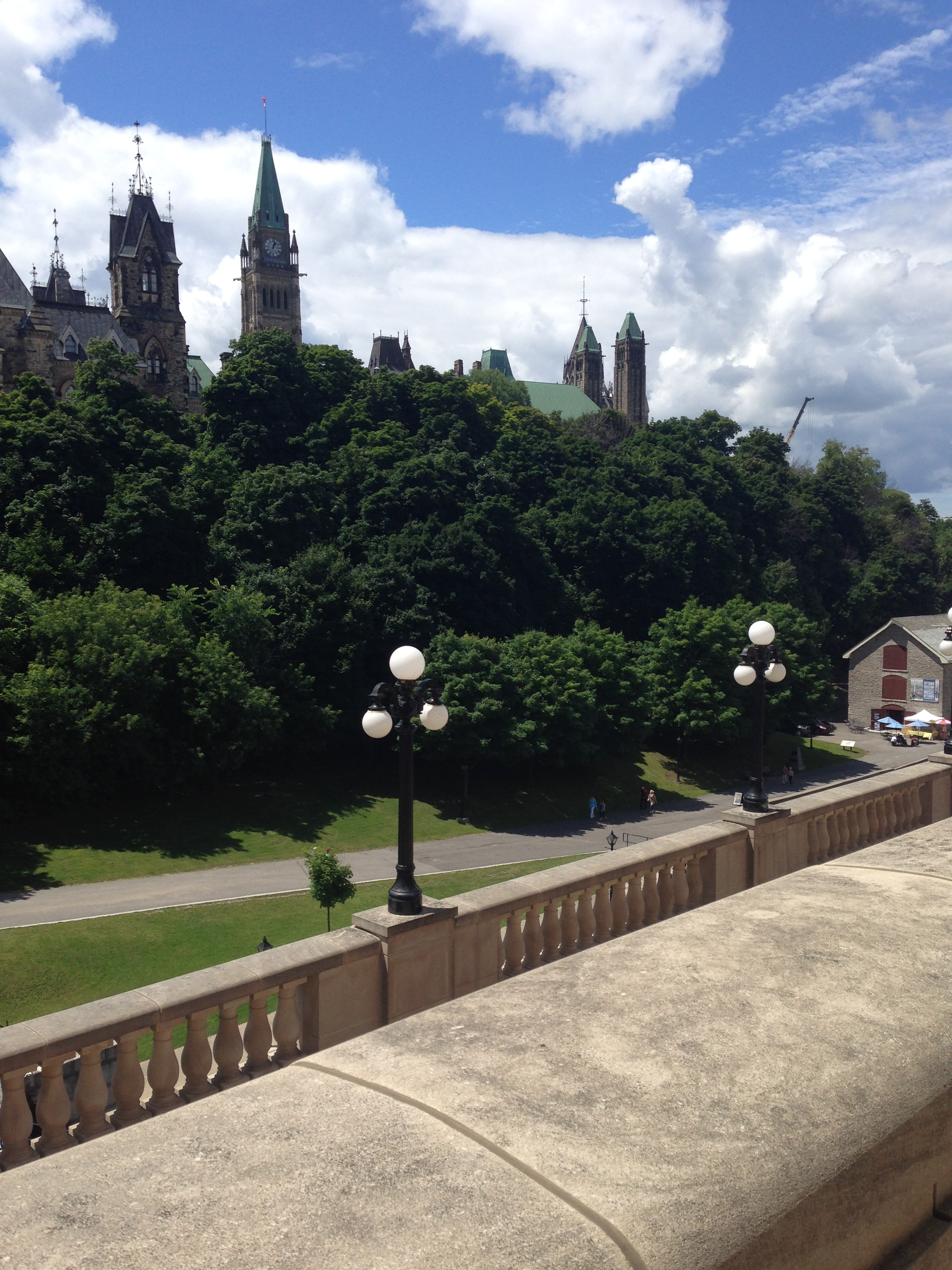A view of the Parliament Buildings from the Chateau Laurier