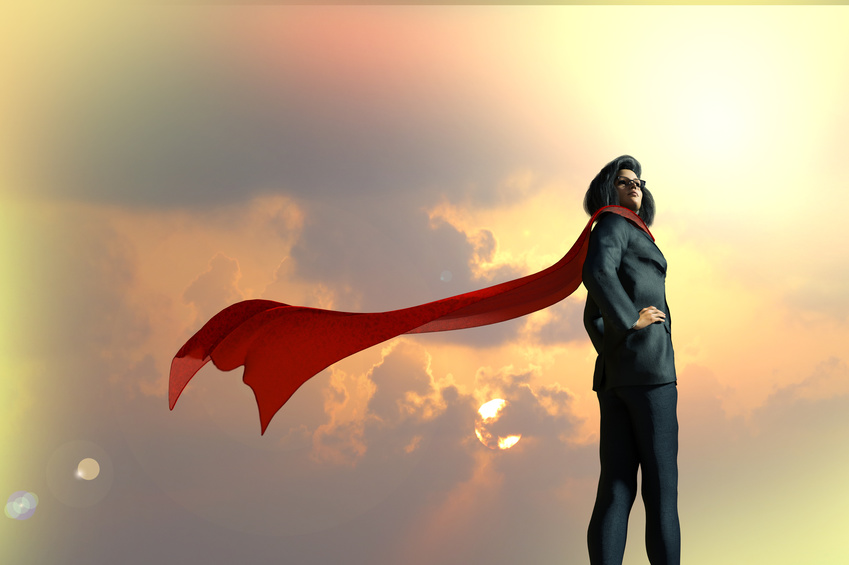 3D Illustration of business woman dressed in a suit with a Cape superhero on a background the sky