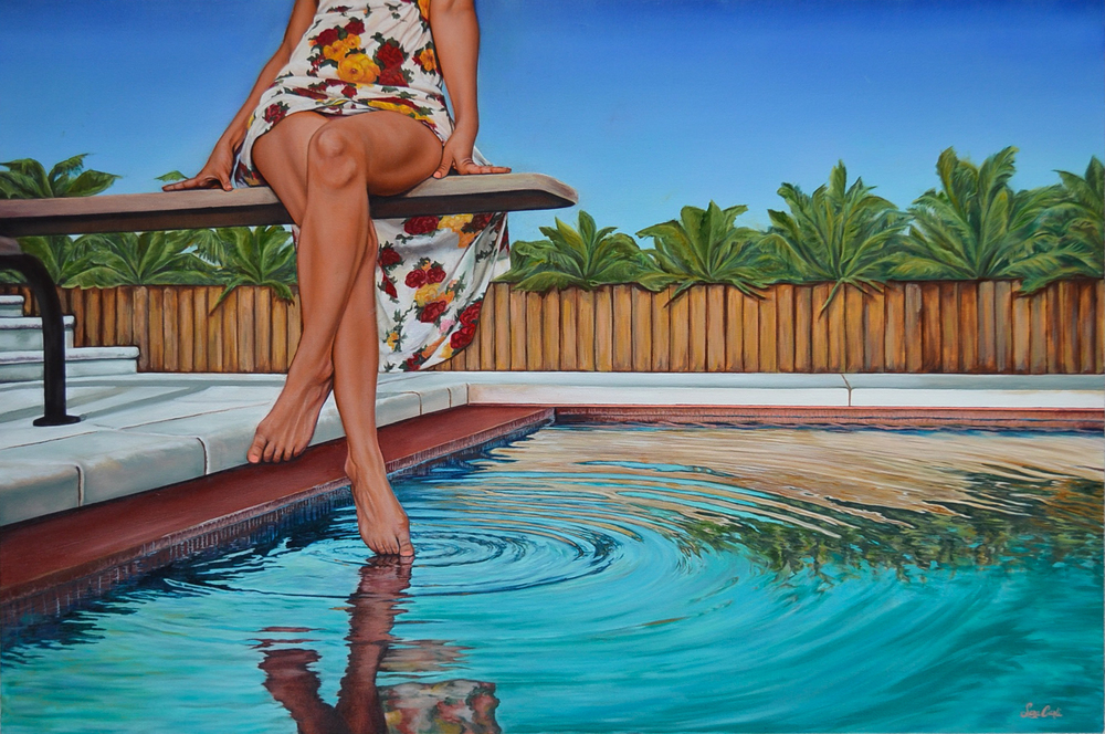 DIEGO'S POOL  oil on canvas, 24 x 36 in, 2016