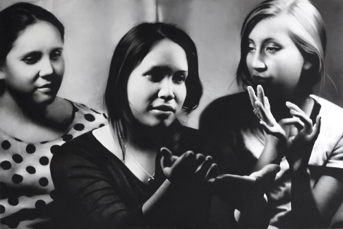 Heidi Draley McFall, Karem, Kristy and Isabel Practicing Sign Language, 2014