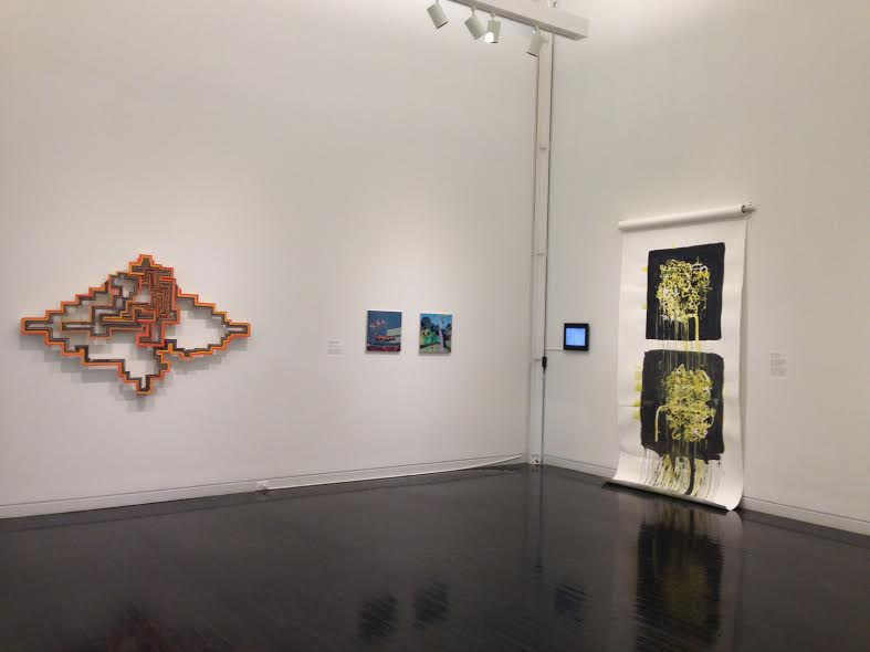Terrence Campagna,  Sundial for Shukke , 2014 (Left), Robert Josiah Bingaman,  Phoenix Dactylifera - Date Palm ,  Butia Capitata - Pindo Palm , 2014 (Center), Diane Christiansen,  Untitled Painting (Product of stop-action animation) , 2015 (Right)