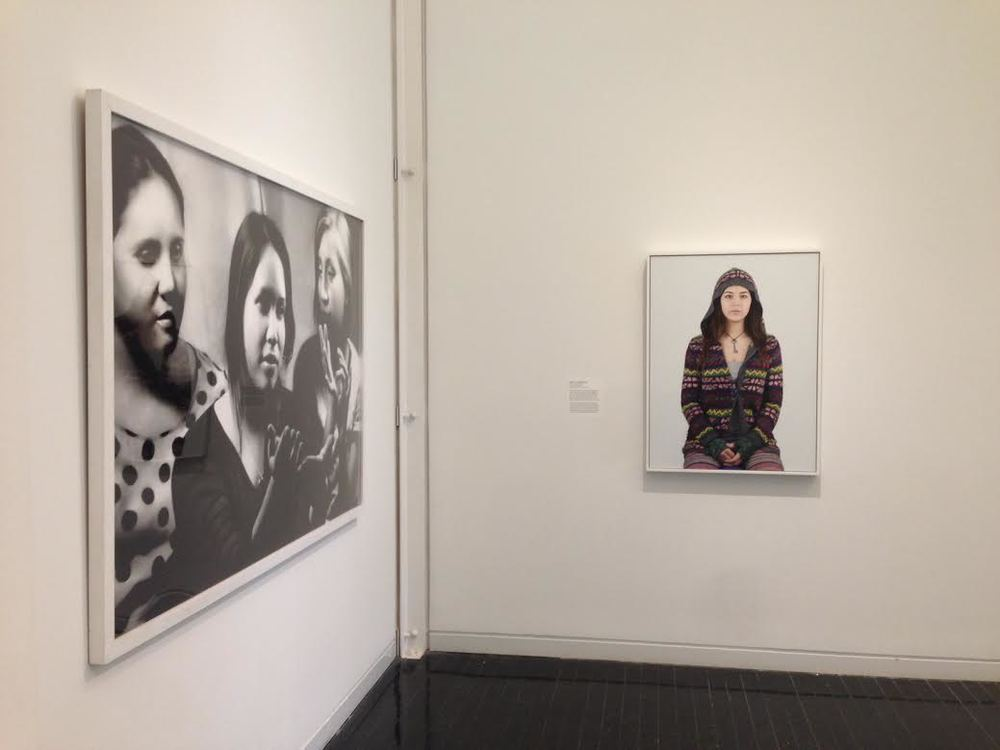 Heidi Draley McFall,  Karem, Kristy and Isabel Practicing Sign Language , 2014 (Left), David J. Eichenberg,  Aimee in Hoodie III , 2015 (Right)