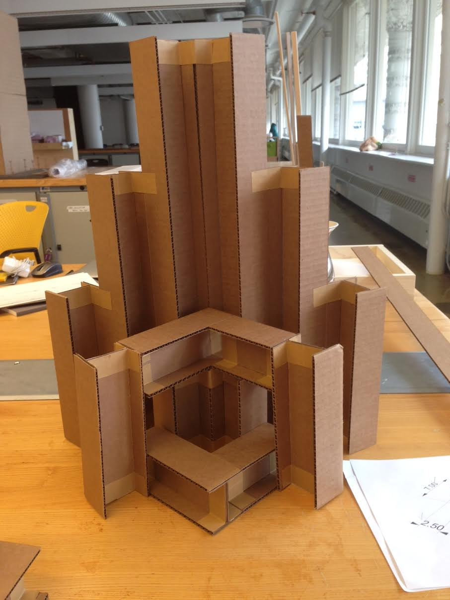 Kneeling station prototype. All elements are modeled after Mies's design innovations, primarily I-beams, cross-beams and corners.
