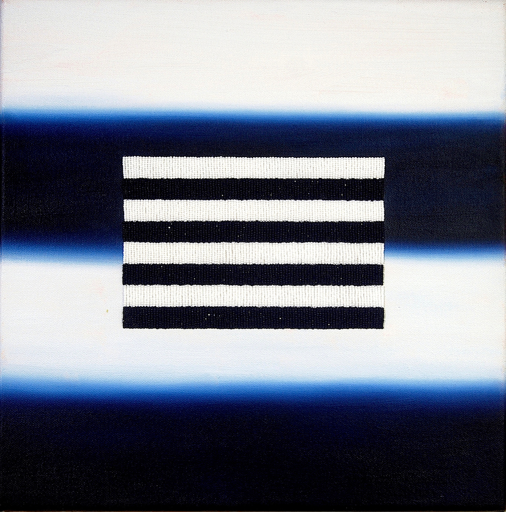 "Blue and White Stripes (History of Abstraction) , 2013, acrylic, oil, sz.13 beads, thread on canvas, 12"" x 12"""