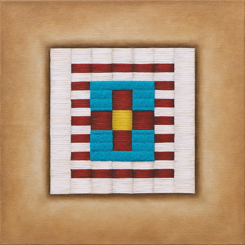 "Untitled (Cross) , 2014, oil, acrylic, sz.15 beads, thread on canvas, 14"" x 14"""