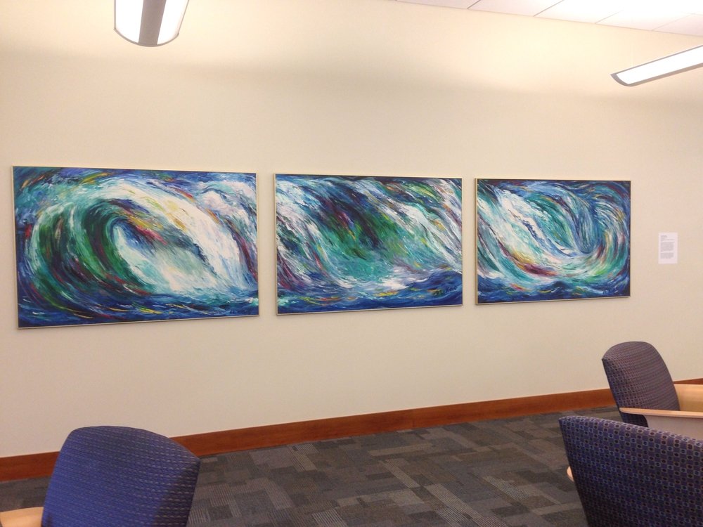 Installation shot of Eleanor King Hookham's Crashing Waves, 1972, oil on Masonite.