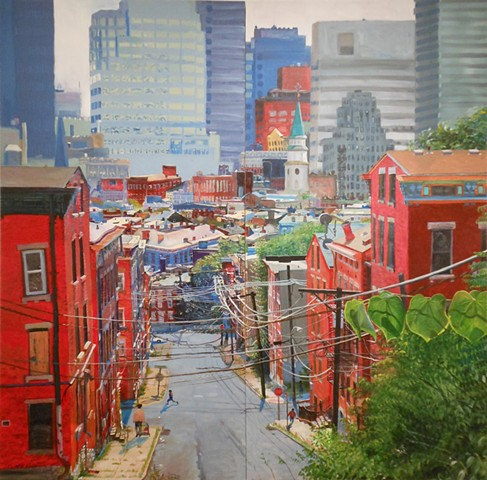Envision Cincinnati , 2012, acrylic on two birch panels. This painting combines fragmented views of the city.
