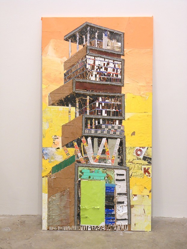 Antilia , 2012, trash, spray adhesive.