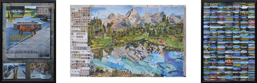 The Grand Tetons, 2014, collage, photographs, frames, glass, cardboard. Similar to his painting Envision Cincinnati, the scene here depicts the most photographed view of the Grand Tetons mountain range in Wyoming.