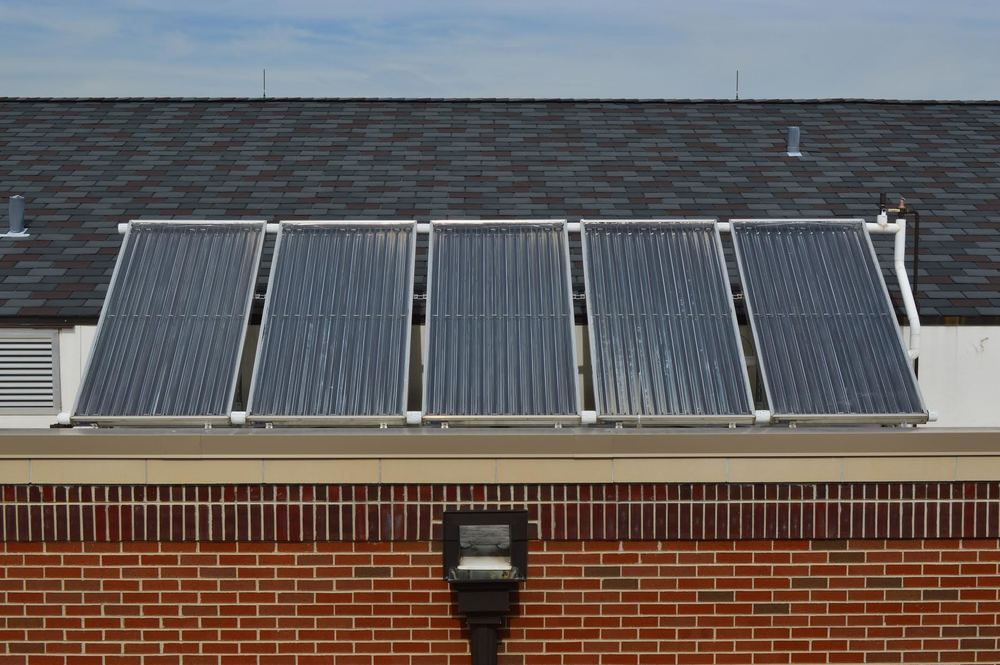 The five solar panels angle southward to absorb the maximum amount of solar energy.