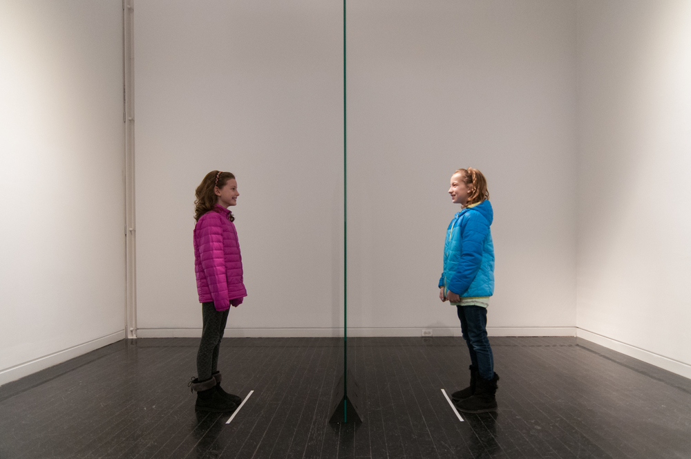 Friends look into the Mirror Monolith and see their faces on each other's bodies.