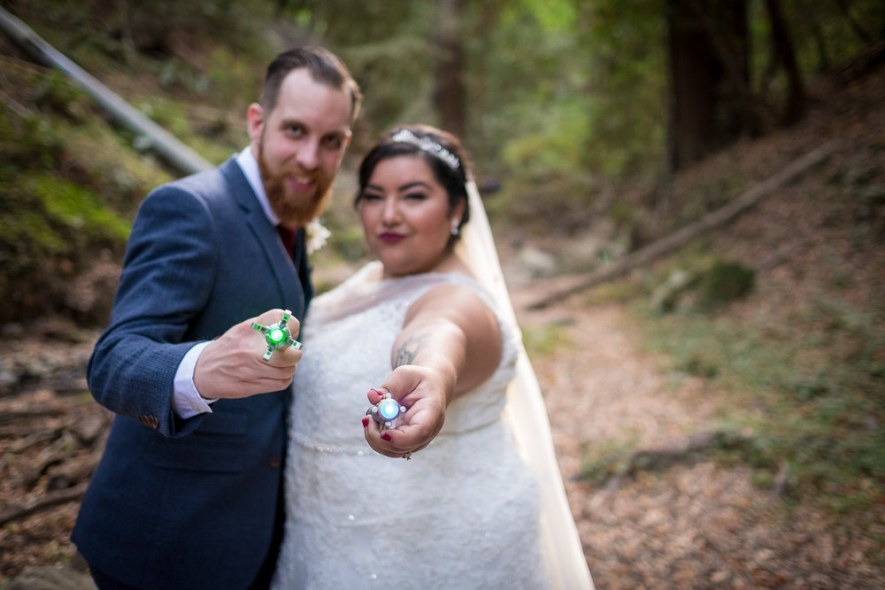 Beautiful couple, redwoods, and lasers oh my!