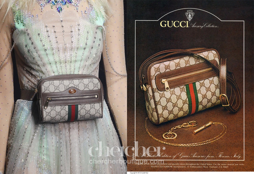 Starting off with Gucci replicating its own archive. Gucci SS 2018 belt bag vs an 1980 handbag ad on Vogue. (Courtesy of Vogue Archives)