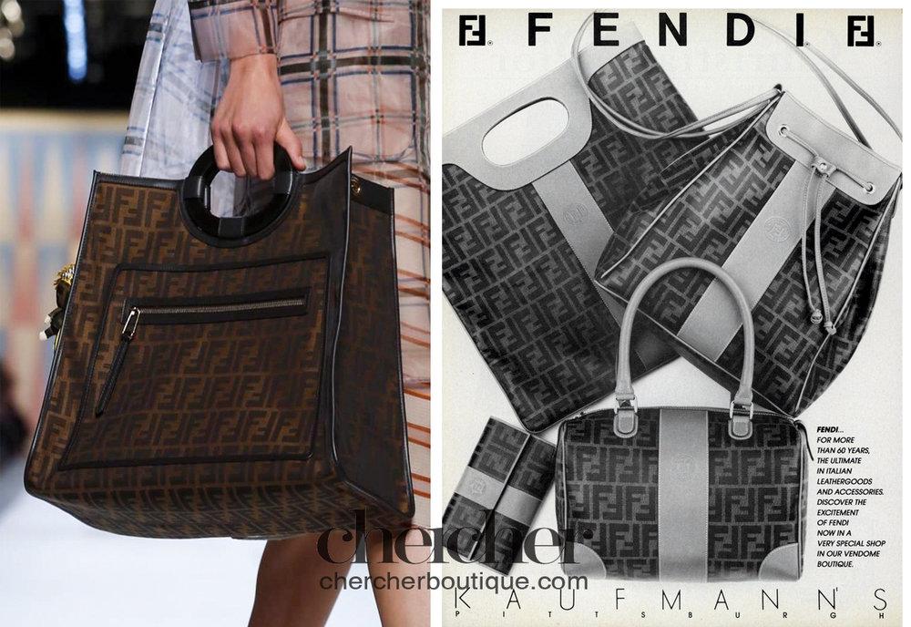 Fendi following suit no doubt. A Fendi SS 2018 handle bag vs its 1987 Zucca collection. (Courtesy of Vogue Archives)