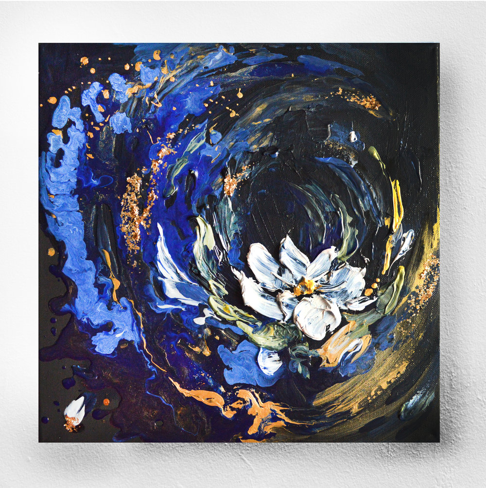 PUREST OF THEM ALL - Acrylic On CanvasOriginal floral artwork with a moody twist!