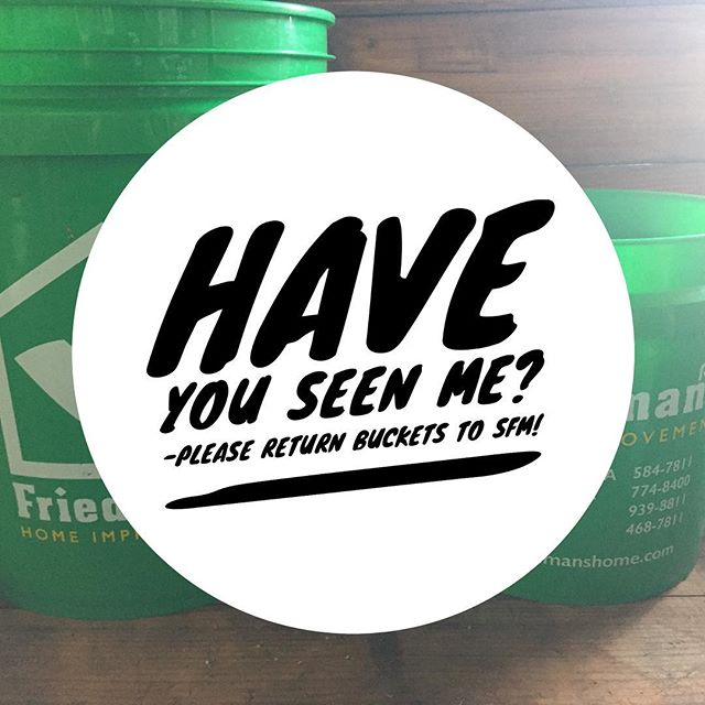 If you borrowed buckets from SFM this season... please return them AND thank you for your purchases! Help us retain our bucket collection so we are ready to go for next season!  #lovethyneighbor #flowermart #bucketlist #slowflowers #lovemyjob