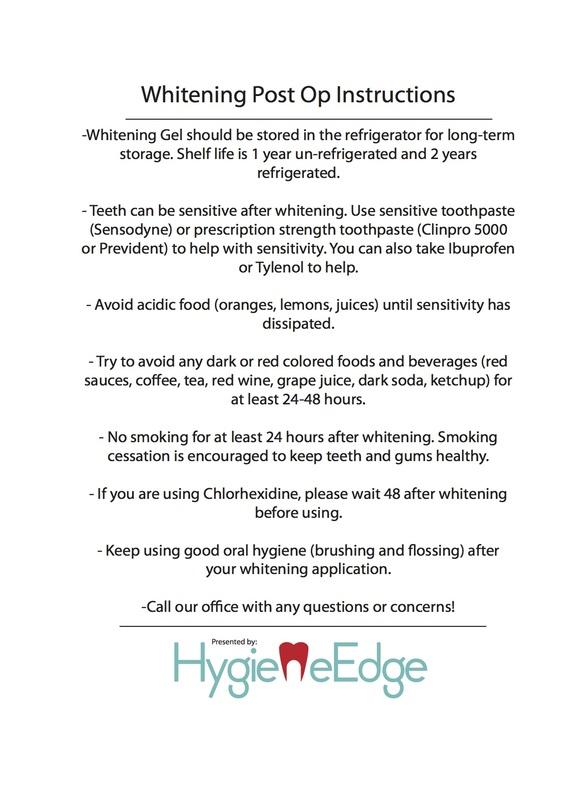 Whitening Post Op Instructions Hygiene Edge