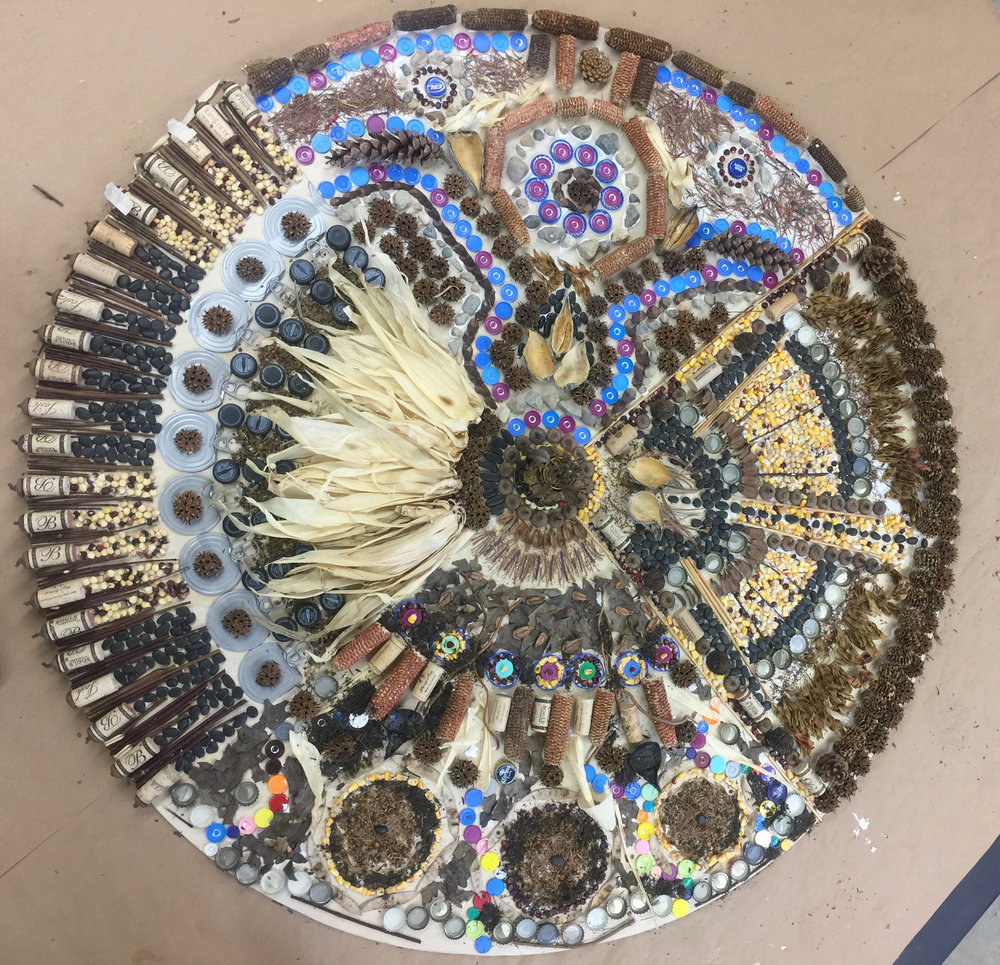 "The complete ""Mandala"" created from natural and recycled materials 8' diameter."