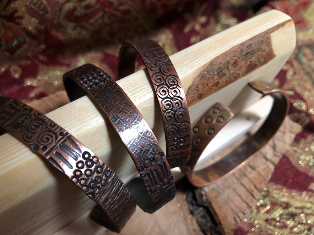 Several men's copper cuffs are among new items I'll be selling.