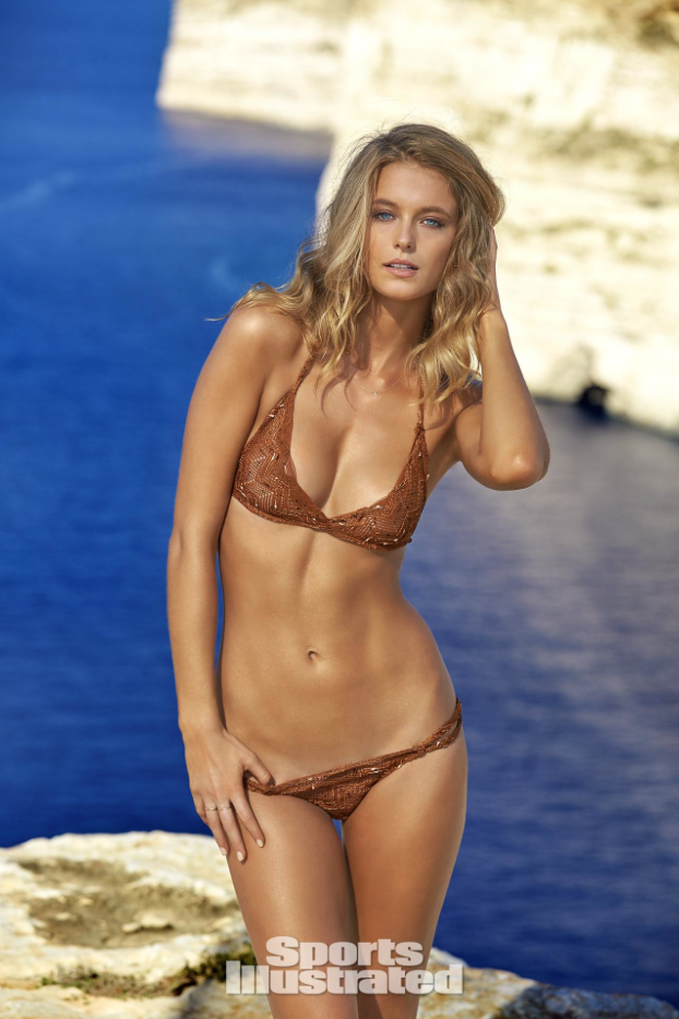 Copper brown lace thong bikini