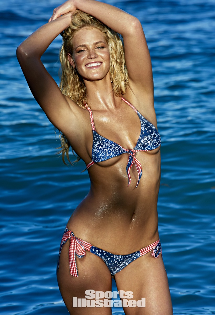Red, white and blue bandana and gingham print bikini