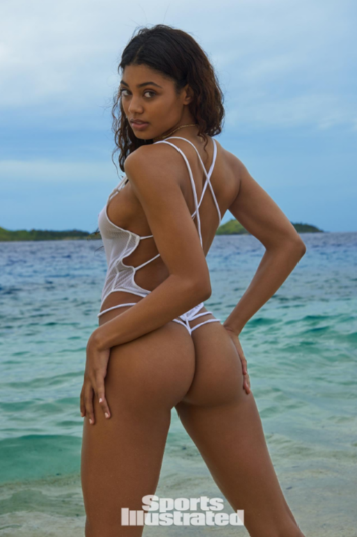 White fishnet strappy thong swimsuit