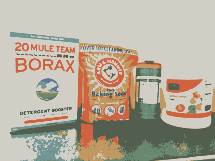 Borax, Baking Soda, Dr.Bronner's Liquid Castile Soap, White Vinegar, and Essential Oils