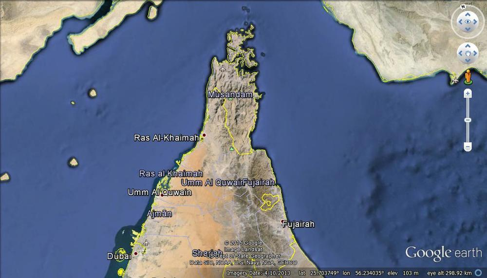 Location map for Musandam.