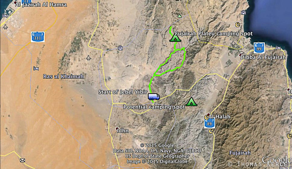 Map of the Jebel Yibir trip
